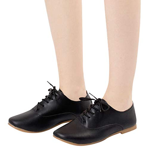 Vowes Fashion Women's Casual Solid Round Head Flat Lace-Up Shoes Female Skandents Small White Shoes Leisure Shoes (Ariat Leather Clogs)
