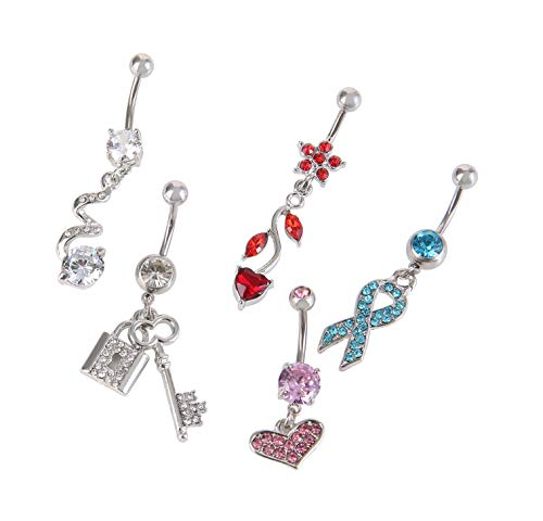5pcs Dangle Belly Button Rings For Women Girls Navel Rings Curved Barbell Body Jewelry Piercing 14g Silvery4 Colorful Gems 14g 1 6mm