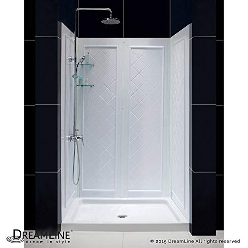 DreamLine DL-6070C-01 48 in. W x 32 in. D Base and QWALL-5 Shower Backwall Kit in White