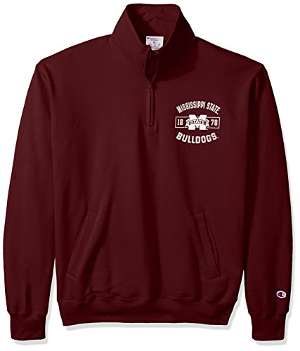 Ncaa Mississippi State Bulldogs Mens Power Blend Fleece Quarter Zip Jacket  Medium  Maroon