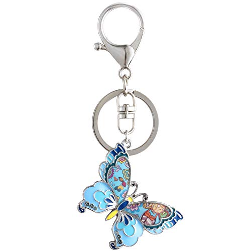 Luckeyui Cute Butterfly Gift Keychain Women Girls Personalized Blue Enamel Insect Keyring ()
