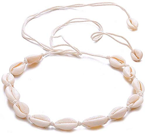 Canboer Beige Rope Natural Shell Beach Choker Necklace Handmade Hawaii Jewelry for Girls Women Ladies