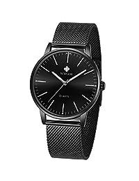 WWOOR Relojes de Hombre Análogo Reloj Hombre Relojes Acero Inoxidable Hombre Color Negros Azul (black)