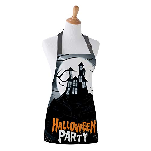 Family Decor Adjustable Bib Apron for Women Men Chef, Waterdrop Resistant Kitchen, Cooking and Baking Aprons, Happy Halloween Night Castle Party -