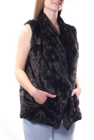 Faux Fur Vest (Large, BlackGrey) by Wildflower