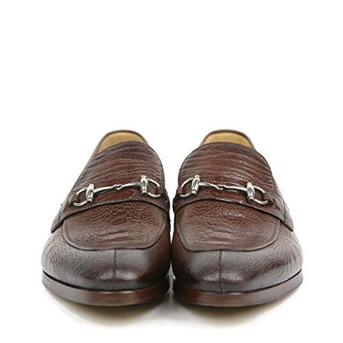 Gucci Men's Brown Horsebit Claw Ostrich Loafers 353016 ED300 2218 US 11.5