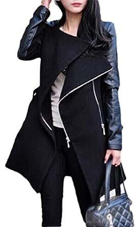 Macondoo Womens Fall Winter Stitching Outwear Oblique Zipper Contrast Pea Coat Black XXS