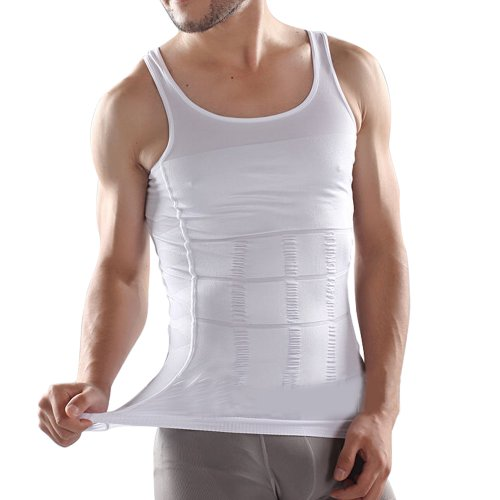 MABOOBIE Slimming Body Shaper Tummy Waist Magic Compression Muscle Shirt Undershirt US 36 38 40 L White by MABOOBIE