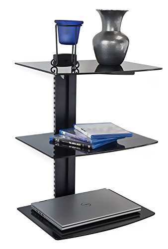 mount it wall mounted floating shelf bracket stand for av receiver component cable box. Black Bedroom Furniture Sets. Home Design Ideas