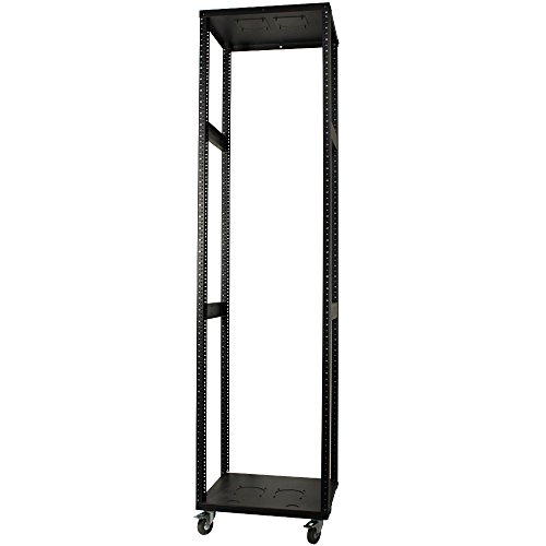- Rolling Equipment Rack 42U - Built in Casters/Wheels - Open Skeleton - Professional Use Electronics/Audio Video/Server/Switch