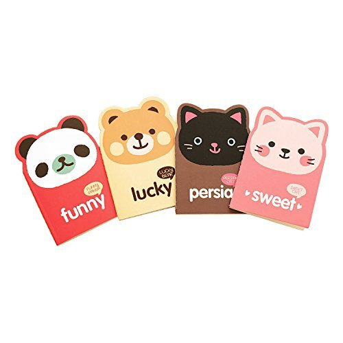 Mini Animal Style blocchi note taccuino con pagine a righe (confezione da 4) HHL