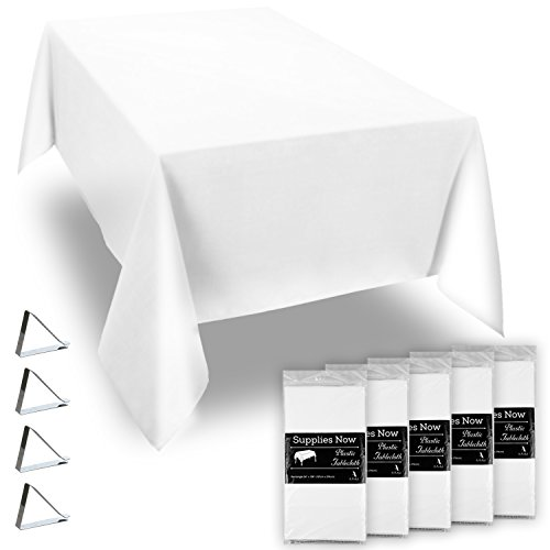 "White 54"" x 108"" Disposable Plastic Tablecloths Set Includes 5 Plastic Table Covers and 20 Stainless Steel Clips (25 Pieces) -"