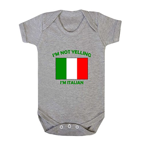 I'm Not Yelling I Am Italian Italy Baby Bodysuit One Piece Oxford Gray 6 Months ()
