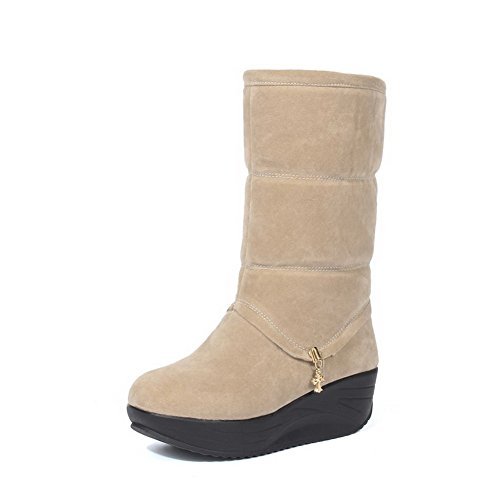 Allhqfashion Women's Kitten-Heels Frosted Mid-top Solid Pull-on Boots Beige