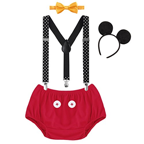 IBTOM CASTLE Baby Boys First Birthday Christmas Costume Cake Smash Outfits Y Back Suspenders Bloomers Bowtie Set Mouse Ear #2 Red+Buttons Triangle Pants Outfits 12-18 Months]()