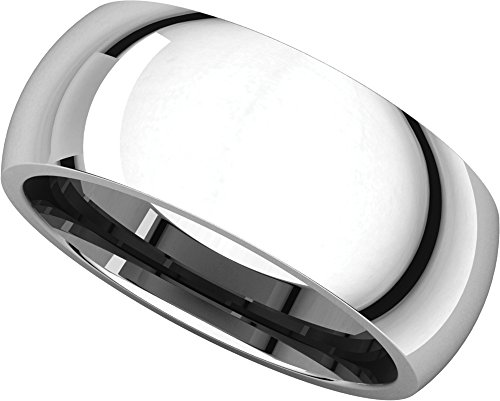 Mens 14K White Gold, Comfort Fit Wedding Band 8MM (sz 9)