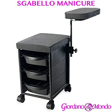 taburete manicura y pedicura para estetista carro de 3 cajones con asiento sintética Profesional: Amazon.es: Belleza