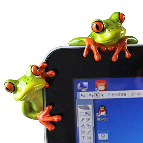 Figurine Computer - L.DONG 2 Pack Funny Frogs Decor, 3D Creative Craft Frog Figurine Toys for Computer, Adorable Office Desk Decoration Resin Ornament Cute Toys Birthday Gift for Friends