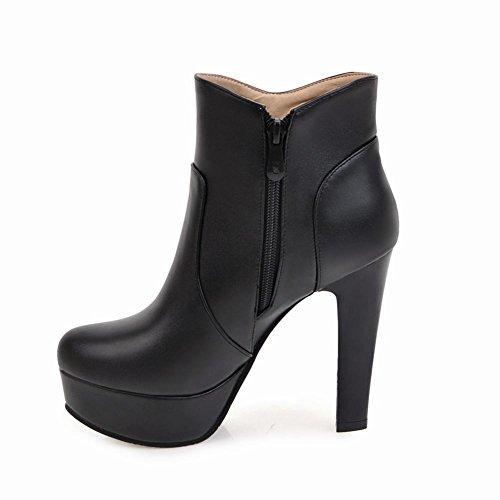 Charm Fot Kvinna Elegant Blixtlås Strass Plattform Hög Klack Boots Svart