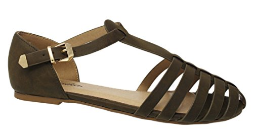 Almond Fisherman Leatherette Sandal T Toe Khaki PAPRIKA Women Strap Flat RY7gxE