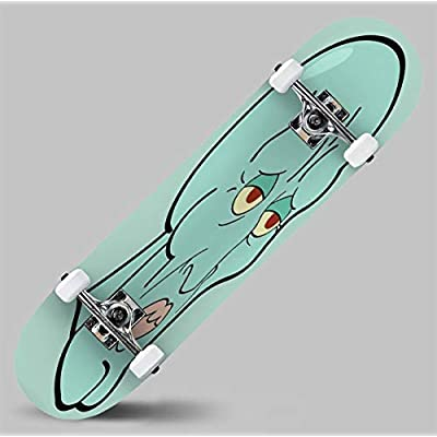 Classic Concave Skateboard Handsome Squidward Longboard Maple Deck Extreme Sports and Outdoors Double Kick Trick for Beginners and Professionals : Sports & Outdoors