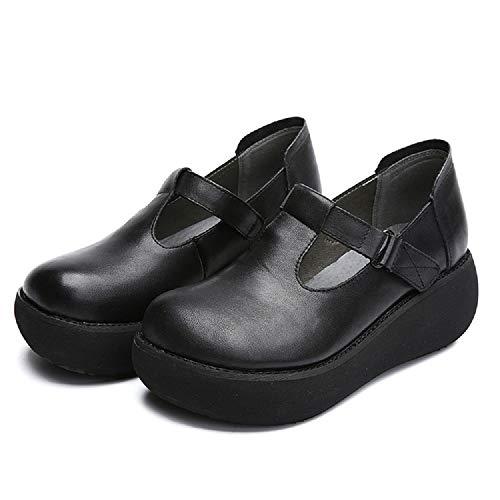 Marrón Leather Mujer Tamaño Negro Mary color Eu Hook Vintage Zhrui Jane Loop Shoes 39 Plataforma wvIxqH