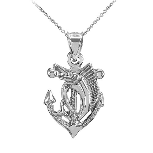 Anchor with Marlin-Sailfish Pendant Necklace, 18