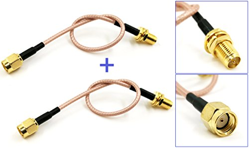 Pack of 2 RF RG316 RP-SMA Male to RP-SMA Female Nut Bulkhead Crimp Antenna Coaxial Low Loss Cable (6 inches (15 cm))