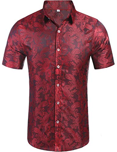 Daupanzees Mens Regular Fit Short Sleeve Shiny Silk Like Satin Dance Prom Luxury Dress Shirt Jacquard Shirt Tops (Red XL)