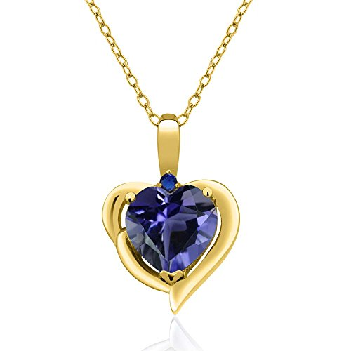 Gem Stone King 1.26 Ct Heart Shape Blue Iolite 18K Yellow Gold Plated Silver Pendant ()