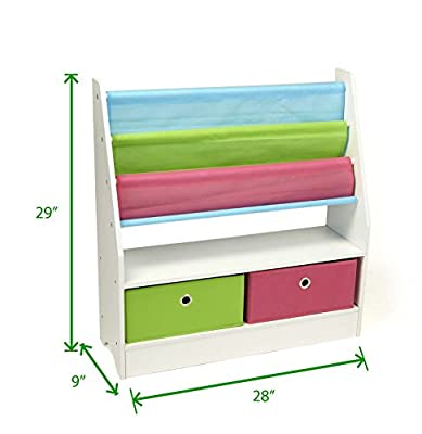 Mind Reader Toy Storage Organizer Kids Book Organizer wth Folding Drawers for Toddler Toys