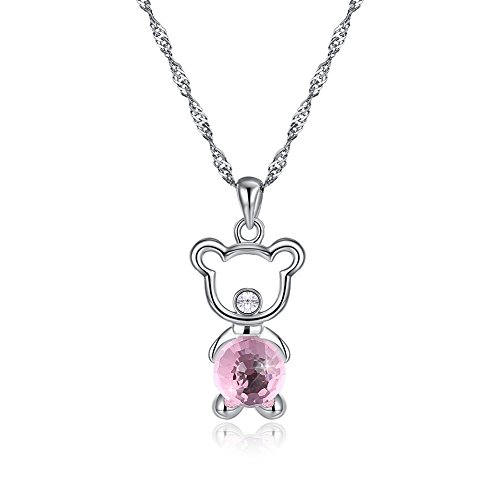 KNKNKN LEKANI Lucky Bear' Teddy Bear Princess Necklace with Swarovski Crystal, Jewelry for Women Gifts for Mom - Charm Bear Teddy Lucky