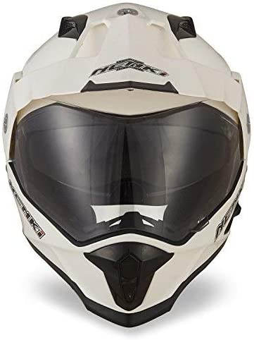 Bianca,S 55-56CM NENKI Casco Motocross Enduro Dual Sport Touring//Adventure NK-313 ECE Approvato con Dual visiera