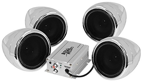 BOSS Audio MC470B Speaker/Amplifier Sound System, Weatherproof Speakers, Bluetooth Amplifier, Inline Volume Control, Ideal For Motorcycles/ATV and 12 Volt Applications by BOSS Audio Systems