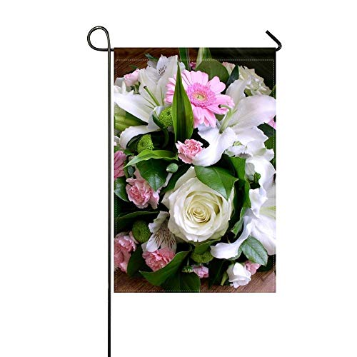 (ZLU Garden Flag Roses Gerbera Alstroemeria Lilies Carnations Bouquets Greens 12x18 inches(Without Flagpole))