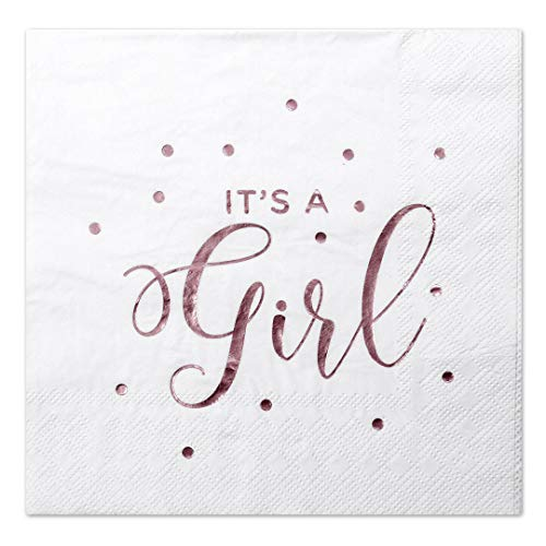 Andaz Press It's a Girl Pink Foil Lunch Napkins, 6.5-inch, in Bulk 50-Pack, Shiny Metallic Tableware Supplies for Baby Shower, Gender Reveal Party, Dessert Table Decor, Bulk Party Supply ()