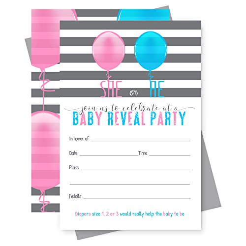 Gender Reveal Party Invitations with Grey Envelopes - Set of 15 - Pink and ()