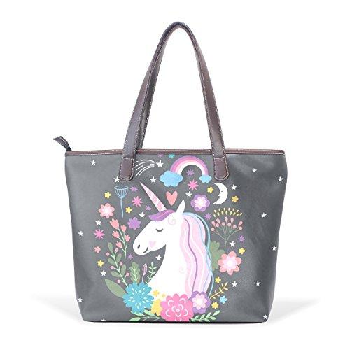 Coosun Unicorn Handle Large Bag Leather Shoulder Tote Bag Hand Pu M (40x29x9) Cm Multicolor # 001