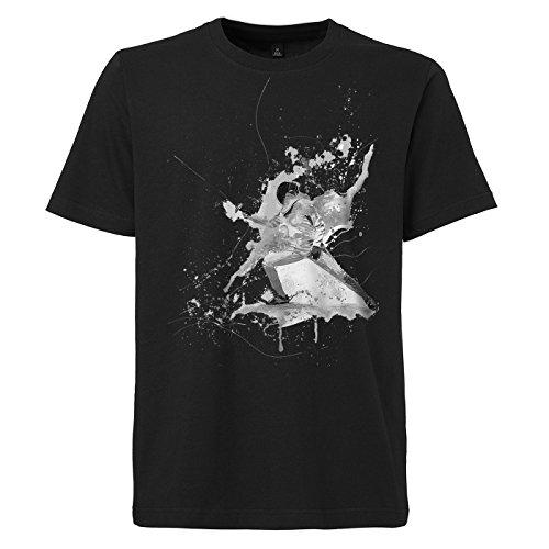 Fechten schwarzes modernes Herren T-Shirt mit stylischen Aufdruck