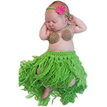 Pinbo Baby Girls Boys Knitted Crochet Headband Bra Hula Skirt Photography Prop