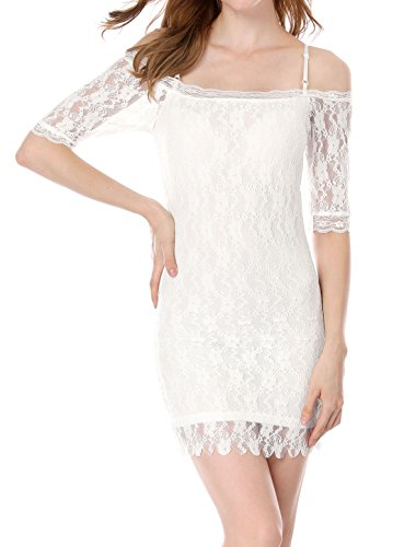 Price comparison product image Allegra K Girls Off Shoulder Short Sleeve Sheerness Lace Sheath Dress