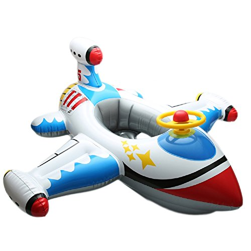 SToC Babies Kids Funny White Get Plane Shaped Inflatable Toy Swim Ring Seat Float Swimming Boat