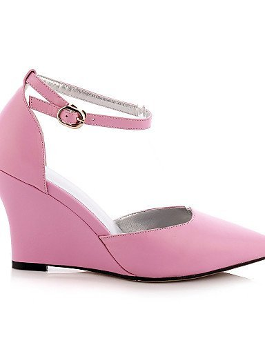 Les Pointu Chaussures Compensé De Occasionnel Rose Bout Pour Argent En Coins Blanc Cuir Shangyi Noir Femmes Talon Talons Jaune Jaune wgqntxr7gW