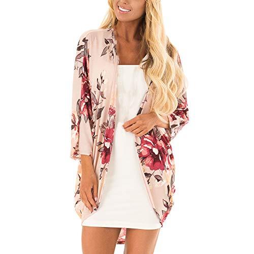e6170bba96 yijiamaoyiyouxia Blouse Womens Boho Irregular Long Sleeve Wrap Kimono  Cardigans Casual Coverup Coat Tops Outwear(