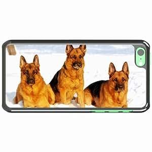 iPhone 5C Black Hardshell Case dog shepherd snow Desin Images Protector Back Cover