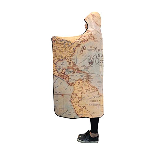 AIKENING Hooded Blanket Columbus Day World Map Compass
