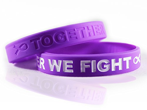Pancreatic Cancer Awareness Bracelets Gift for Patients, Survivors, Family and Friends, Set of 2 Purple Ribbon Silicone Rubber Wristbands (Awareness Thyroid Bracelet Cancer)
