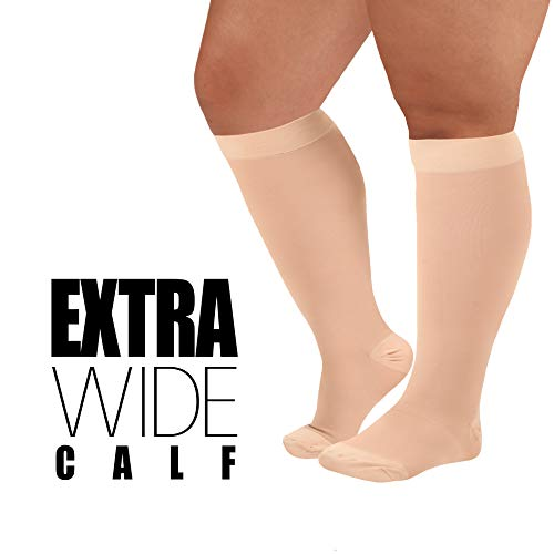 Made in The USA- XXXL Opaque Compression Socks, Knee-Hi Extra Wide Calf Support Hose - Closed Toe, 20-30mmHg Graduated Compression Stockings - Size: 3XL, Beige Support Stockings for Men and Woman