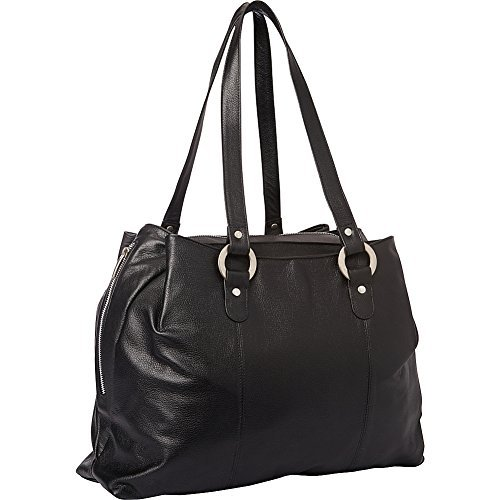 - Piel Leather Three Compartment Tote Bag Black