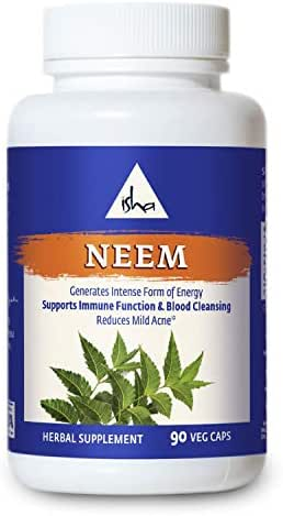 Isha Organic Neem Supplement — Natural Ayurvedic Herbal Cleanser and Purifier: Boosts Immunity, Detoxifies The Body, and Prevents Mild Acne for All Skin Types. 90 Vegetarian Capsules, 950 mg Each